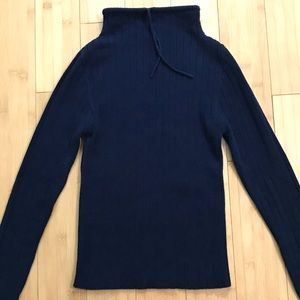 Buffalo Sweater Fitted Ribbed Navy Size Sm Petite